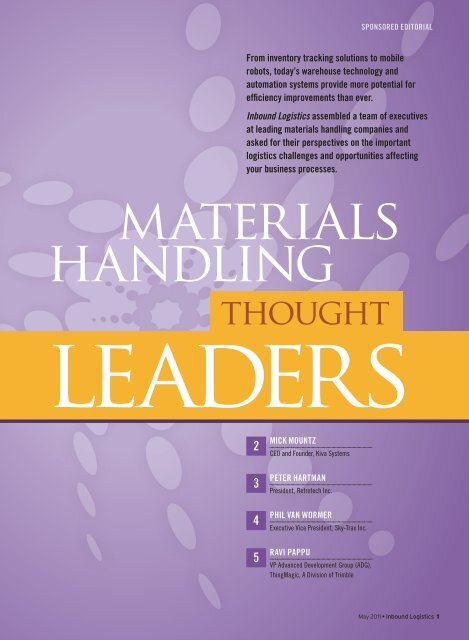 Materials Handling Thought Leaders - Inbound Logistics