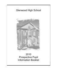 Glenwood High School 2010 Prospective Pupil Information Booklet