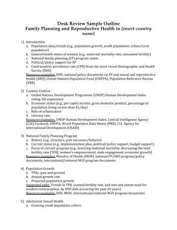 Desk Review Sample Outline Family Planning ... - EngenderHealth