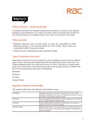 RAC Breakdown Key Facts - The Co-operative Insurance