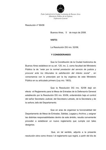 DG 89-08 Protocolo Mesa de Entradas - Página Defensoria General