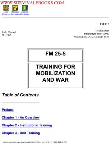 1985 US Army Training for Mobilization and War ... - Survival Books