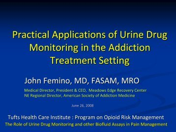 Applications Of Urine Drug Monitoring In The Addiction