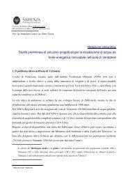 Relazione integrativa Studio preliminare di soluzioni progettuali per ...