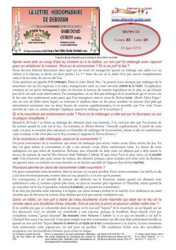 Volume XI - lettre n°24 - Association Deborah Guitel