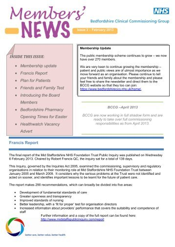 Issue 3 February 2013 - Bedfordshire Clinical Commissioning Group