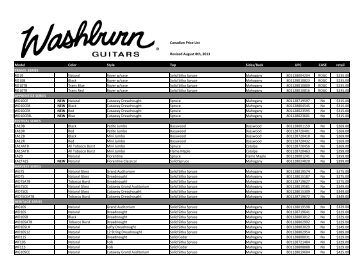 Canadian Price List Model Color Style Top Sides ... - Erikson Music