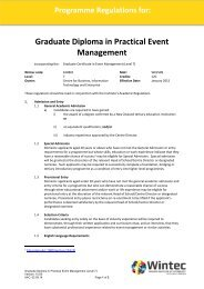 Graduate Diploma in Practical Event Management (Level 7 ... - Wintec