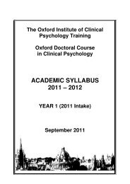 academic syllabus 2011 – 2012 - Oxford Doctoral Course of Clinical ...