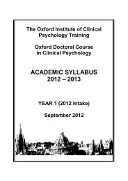 Academic Syllabus 2012 Year 1 - Oxford Doctoral Course of Clinical ...