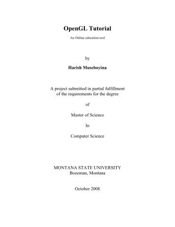 OpenGL Tutorial - Computer Science Department - Montana State ...