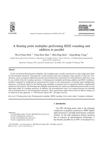 A floating point multiplier performing IEEE rounding and addition in ...