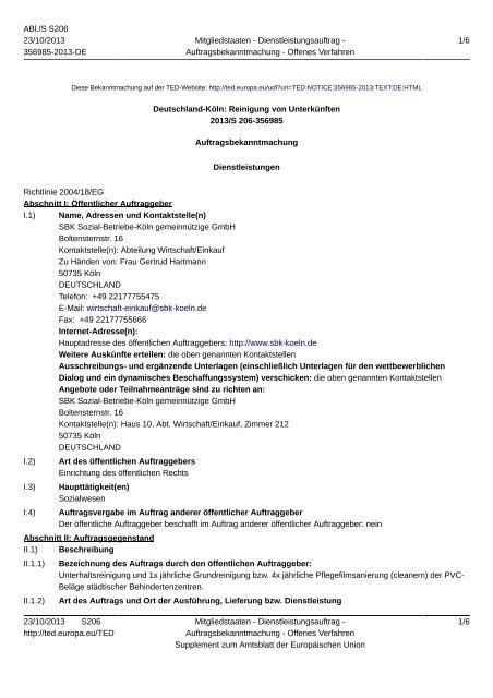 Deutschland-Köln: Reinigung von Unterkünften - Sozial-Betriebe-Köln