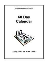 60 Day Calendar - Mt. Diablo Unified School District