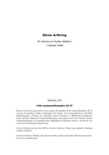Sören Arlbring - en intervju av Gustav Sjöblom - Tekniska museet
