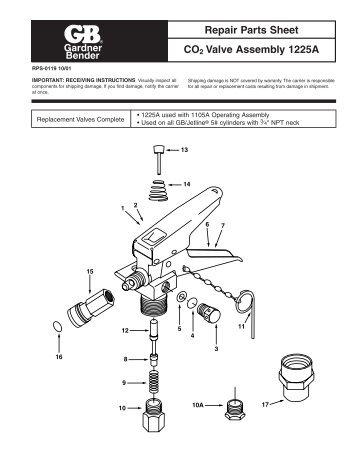 Repair Parts Sheet CO2 Valve Assembly 1225A - Gardner Bender