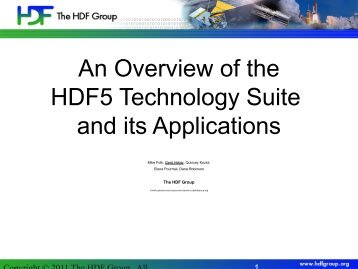 An Overview of the HDF5 Technology Suite and its ... - Rasdaman