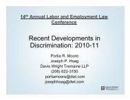 Recent Developments in Discrimination: 2010-11 - Davis Wright ...