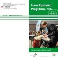 Haus Ripshorst Programm 2012 - Metropole Ruhr