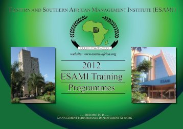 Training Calendar 2012 - Eastern and Southern African ...