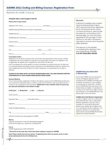 AAOMS 2011 Coding and Billing Courses: Registration Form