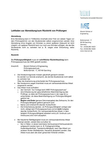 Leitfaden zur Abmeldung/zum Rücktritt von Prüfungen - Technische ...