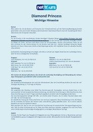 Für wichtige Hinweise und Informationen zu Ihrer ... - Net-Tours GmbH
