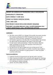report on curriculum framework public discussions - suharekë - EU ...
