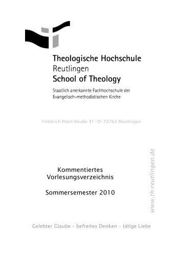 Vorlesungsverzeichnis - Theologische Hochschule Reutlingen