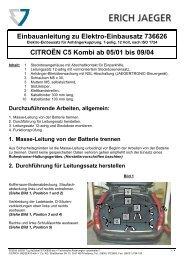 Einbauanleitung zu Elektro-Einbausatz 736626 CITROËN C5 Kombi ...