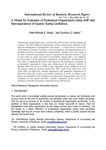 A Model for Evaluation of Professional Organizations Using AHP ...