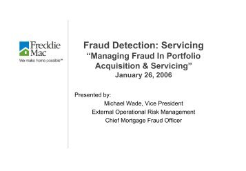 Fraud Detection: Servicing