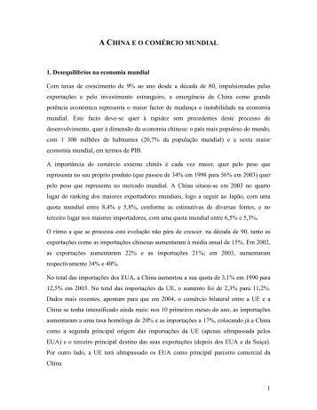 A CHINA E O COMÉRCIO MUNDIAL - AEP