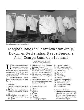 Langkah-langkah Penyelamatan Arsip/ Dokumen Pertanahan ...