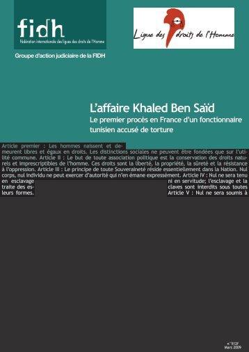 Rapport FIDH-LDH sur l'affaire Khaled Ben Saïd - mars 2009