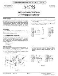 INSTALLATION INSTRUCTIONS JF1000 Exposed Shower - Jason ...