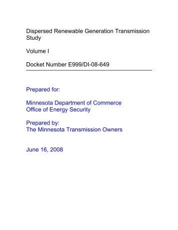 Dispersed Renewable Generation Transmission Study Volume I ...
