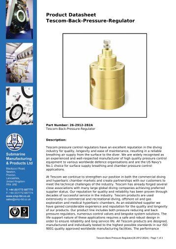 Tescom-Back-Pressure-Regulator - Submarine Manufacturing and ...