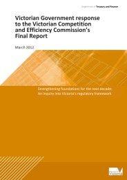 Victorian Government Response to VCEC Regulatory Framework