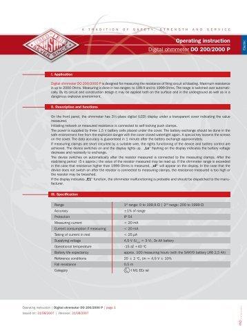 Digital ohmmeter DO 200/2000 P User's Guide - Austin Detonator sro