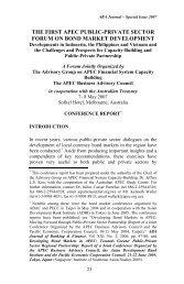 the first apec public-private sector forum on bond market development