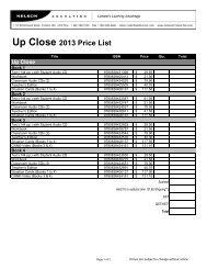 Up Close 2013 Price List