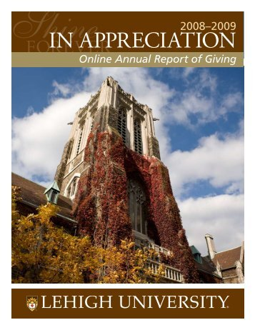 ANNUAL REPORT OF GIVING 2008–2009 - Lehigh University