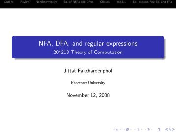 NFA, DFA, and regular expressions - 204213 Theory of Computation
