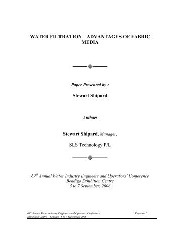 WATER FILTRATION – ADVANTAGES OF FABRIC MEDIA ... - WIOA