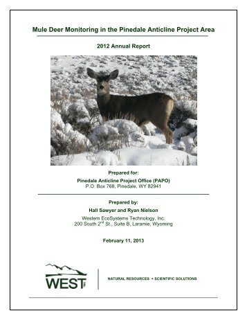 Mule Deer Monitoring in the Pinedale Anticline Project Area
