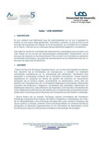 Programa Curso JOB HUNTING - Facultad de Psicología UDD ...