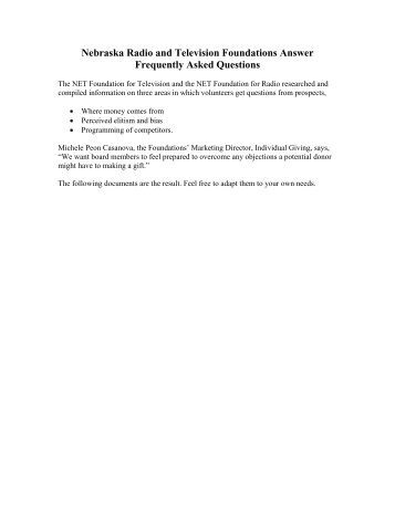 Nebraska Radio and Television Foundations Answer Frequently ...