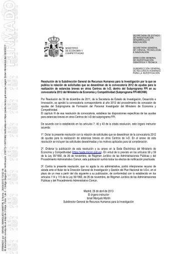 ayudas FPI 2012 - Ministerio de Ciencia e Innovación