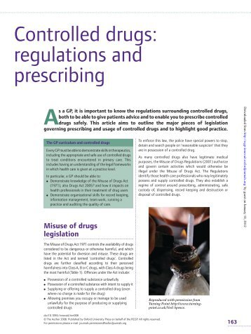 Controlled drugs - Derbyshire Local Medical Committee